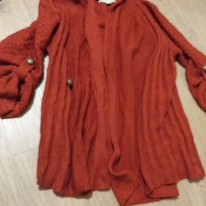 Red knit open cardigan